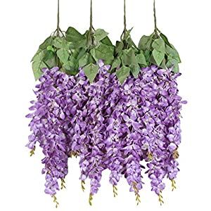 Duovlo Silk Wisteria Flower Artificial 2.13 Feet Hanging Wisteria Vine Fake Flower Bush String Home Party Wedding Decoration,Pack of 4 (Purple) 47