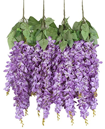 - Duovlo Silk Wisteria Flower Artificial 2.13 Feet Hanging Wisteria Vine Fake Flower Bush String Home Party Wedding Decoration,Pack of 4 (Purple)