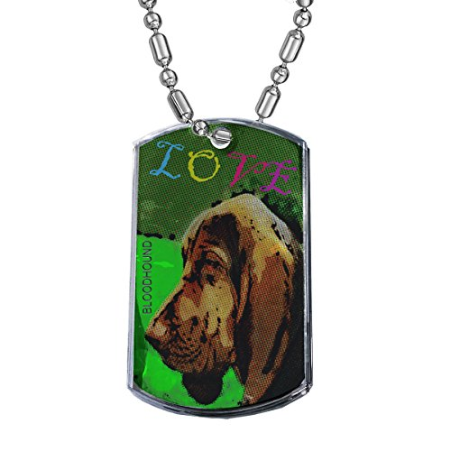 Sunshine Cases Love My Bloodhound - Military Dog Tag Luggage Tag Key Chain Metal Chain Necklace