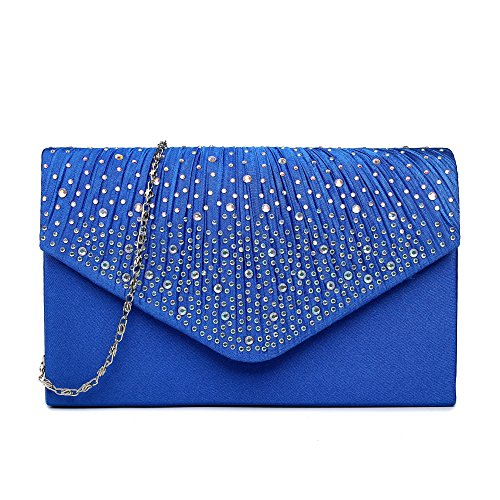 Crystal Jeweled Handbag - ChilMo Women Evening Envelope Rhinestone Frosted Handbag Party Bridal Clutch Purse,Blue