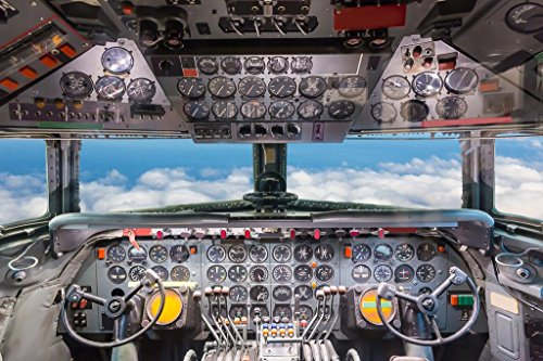 Commercial Airplane Cockpit Flight Deck View Photo Art Print Mural Giant Poster 54x36 inch