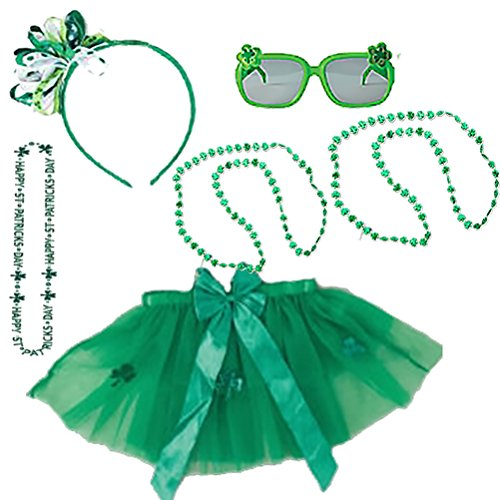 St Patricks Day Costume Set Kids Party Accessory Kit Headband Bow Head Wear Costume Green Beads Shamrock Necklace Tutu Sunglasses Irish Pack for Childs Parade or Party (Leprechaun Costume Kit)