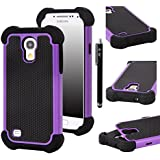E LV High Impact Resistant Hybrid Dual Layer Armor Defender Full Body Protective Case Cover for Galaxy Galaxy S4 MINI with Black Stylus and Microfiber Digital Cleaner - Purple