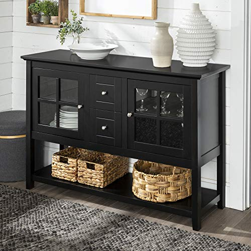 WE Furniture Rustic Farmhouse Wood Buffet Storage Cabinet Living Room, 52 Inch, Black (Glass Tv For Table)
