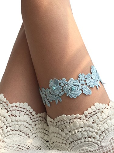 YuRong Wedding Flower Garter Bridal Pearls Garter Bridal Garter G07 (Blue)
