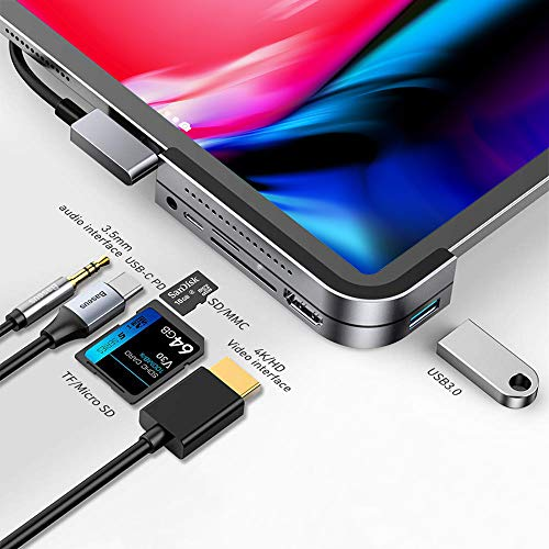 Baseus iPad Pro USB C Hub, 6-in-1 Aluminum Dongle Adapter with 4K HDMI, USB-C PD Charging, SD/Micro Card Reader, USB 3.0 & 3.5mm Headphone Jack, Docking Station Compatible with iPad Pro 2018, 2019