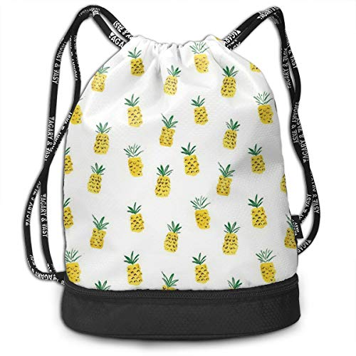 Bulk Drawstring Backpack, Lightweight Gym Sport Bundled Bag Wet Dry Separated Yoga String Cinch Tote Bag Multipurpose Casual Bag For Adult Kids - Pineapple Desktop]()