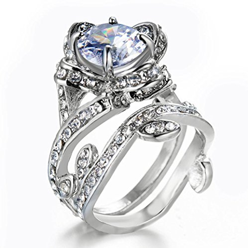 Sinwo Womens Vintage Beautiful White Diamond Silver Engagement Wedding Band Ring Gift! (8, Sliver) Double Open Circle Dangles
