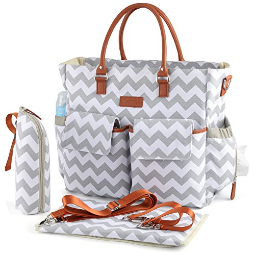 Kattee Chevron Diaper Bag Baby Nappy Tote Bag with Changing Pad & Bottle Holder White & ()