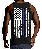 Mens Thin Blue Line American Flag Tank Top T-shirt (Large, BLACK)