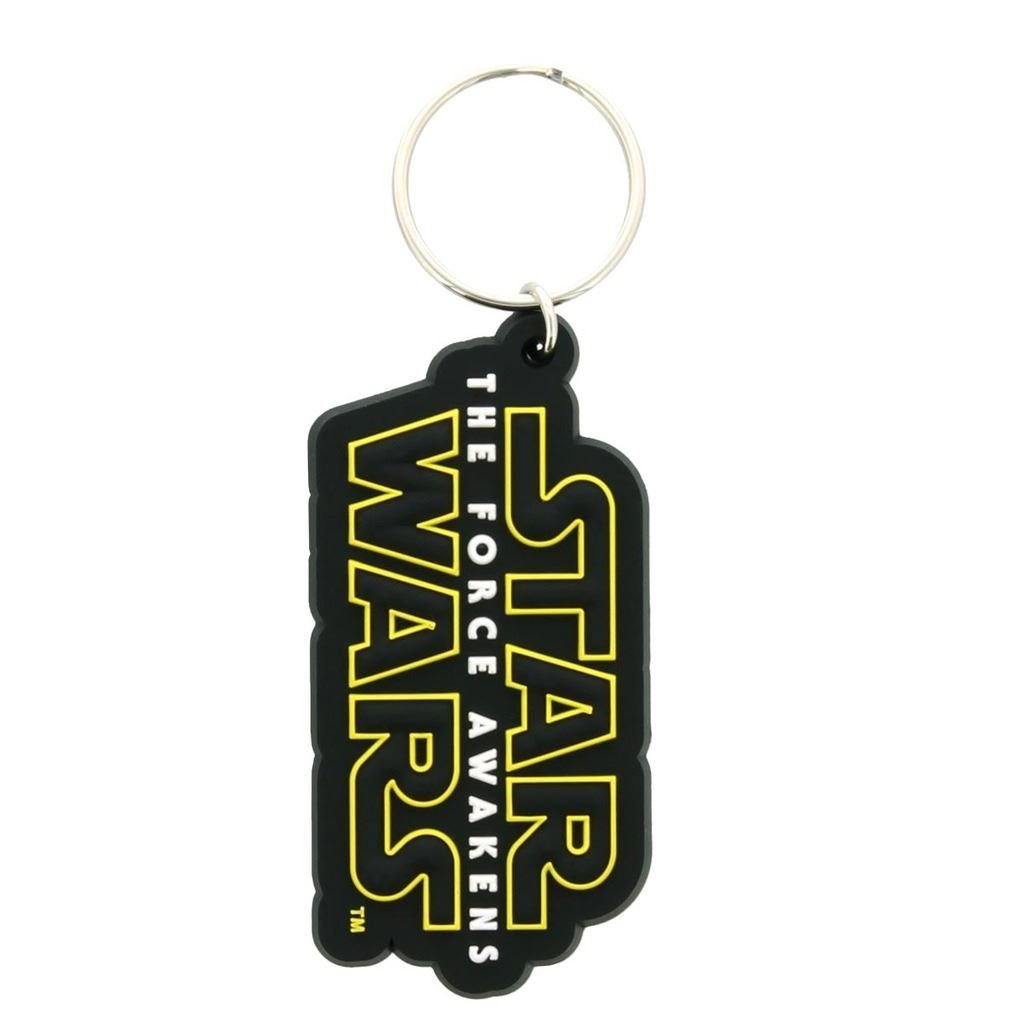 Official Star Wars The Force Awakens Written Movie Logo Rubber Keychain