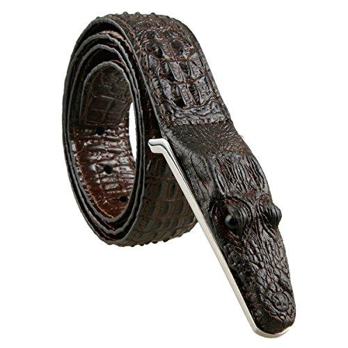 Croco Embossed Belt (Samtree Mens Adjustable Leather Belt Embossed Alligator Plaque)