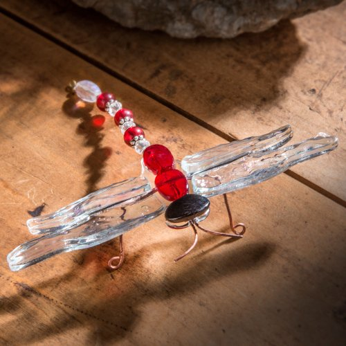 J Devlin Fused Red Glass Dragonfly
