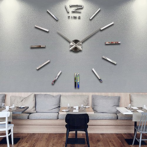 Meflying 3D DIY Wall Clock, Modern Frameless Large Wall Clock Mirror Sticker for Home Office Decor