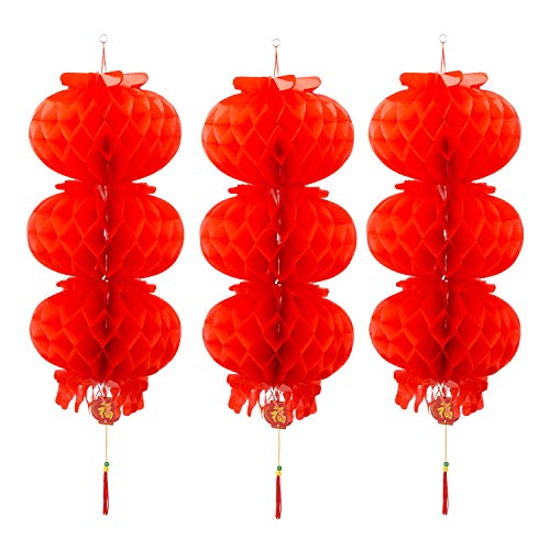 10inch Red Paper Lanterns Chinese New Year Hanging Lanterns for Spring Festival Celebration Decoration (3 -