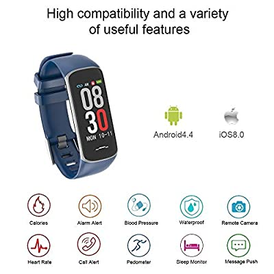 Fitness Tracker, Activity Tracker Watch with Heart Rate Monitor, Smart Watch with Message Reminder and Step Counter, Smart Bracelet with Blood Pressure and Sleep Monitor