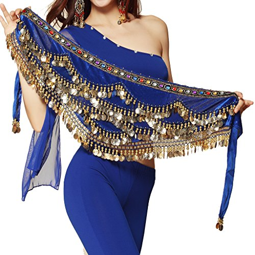 Dancing Beads - Pilot-trade Women's Triangular Belly Dancing Hip Scarf Wrap Skirt with Gold Coins Dark Blue