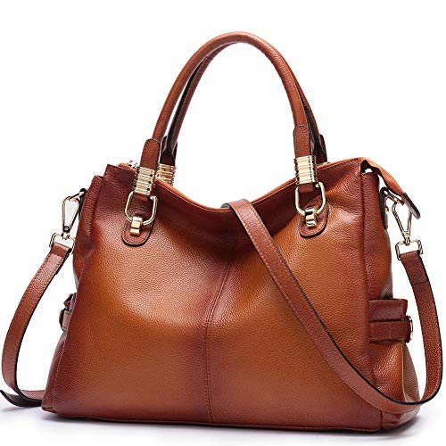 Womens Genuine Leather Handbag Urban Style Satchel Tote Bag Vintage Shoulder Top-Handle Crossbody Handbags Large Capacity