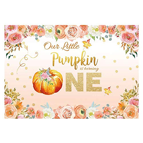 Funnytree 7x5ft Little Pumpkin is Turning One Backdrop Floral Princess Baby Girl 1st First Birthday Party Photography Background Autumn Glitter Dots Flower Cake Table Decoration Banner Photo Booth