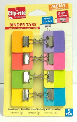 Clip Rite Your Instant Organizer Crt-049 Small Clip Binder Tabs 8 Count