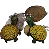 A Pair (2 Pieces) of Genuine Leather Keychain/bag-charm, Cute Turtle Shape, Green