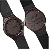 Personalized Fathers Day Gifts - DAD a Daughters First Love - Engraved Wood Watch w Black Leather Strap