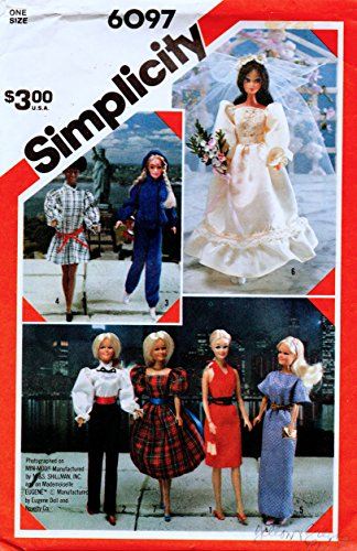 """Simplicity 6097 Barbie Sewing Pattern, Wardrobe for 11 1/2"""" Fashion Doll, Such As Tressy or Barbie, 1980s Fashion Wedding Gown"""