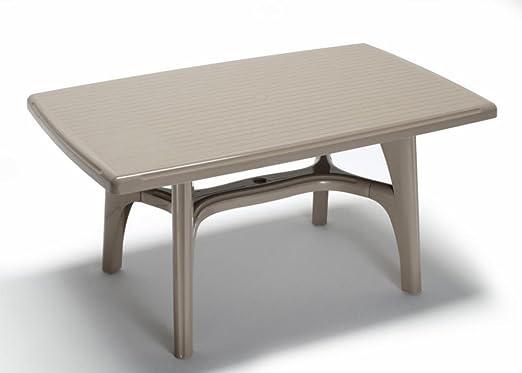 Ideapiu - Mesa rectangular para exterior, mesa de resina 150 x 90 cm, mesa gris pardo para jardín: Amazon.es: Hogar