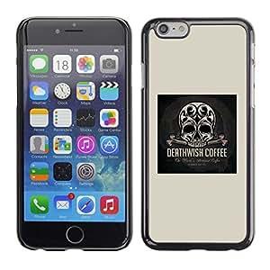 Ihec Tech Wish Skull Coffee muerte impresiones Negro / Funda Case back Cover guard / for Apple Iphone 6 Plus 5.5