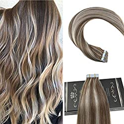 Ugeat 18 Inch Hair Extensions Tape Human Hair 2.5g/pcs 50g/Package Light Brown with Light Blonde Tape in Human Hair Extensions