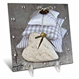 3dRose Andrea Haase Still Life Photography - Stack Of Fabric Pillows And Heart Photography - 6x6 Desk Clock (dc_268184_1)