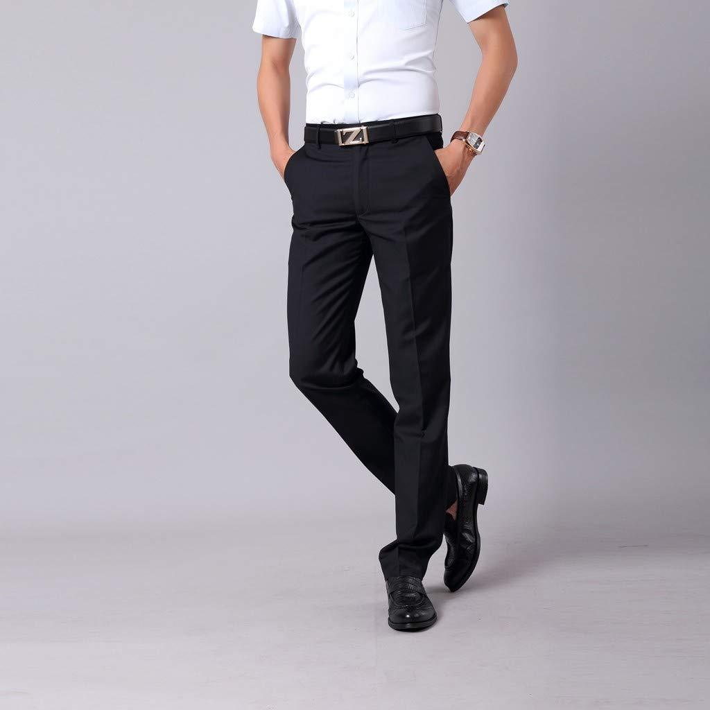 beautyjourney Pantalones de Hombre Pantalones de Negocios Casuales ...