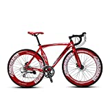 Extrbici XC700 Sports Racing Road Bike for Adults 700Cx70MM Wheel 54CM Lightweight Aluminum Alloy Frame 14 Speeds Shimano 2400 Shift Gears Mans Road Bicycle Mechanical Disc Brakes (Red)