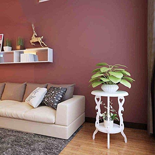 DIDIDD Flower Rack W46 * H63-Blanco de madera maciza redondo de doble flor Stand estantes de plantas creativas Mini...