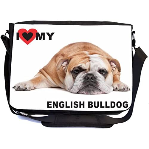 Rikki Knight I Love My English Bulldog Lying Design Multifunctional Messenger Bag - School Bag - Laptop Bag - with padded insert for School or Work - Includes Matching Compact Mirror