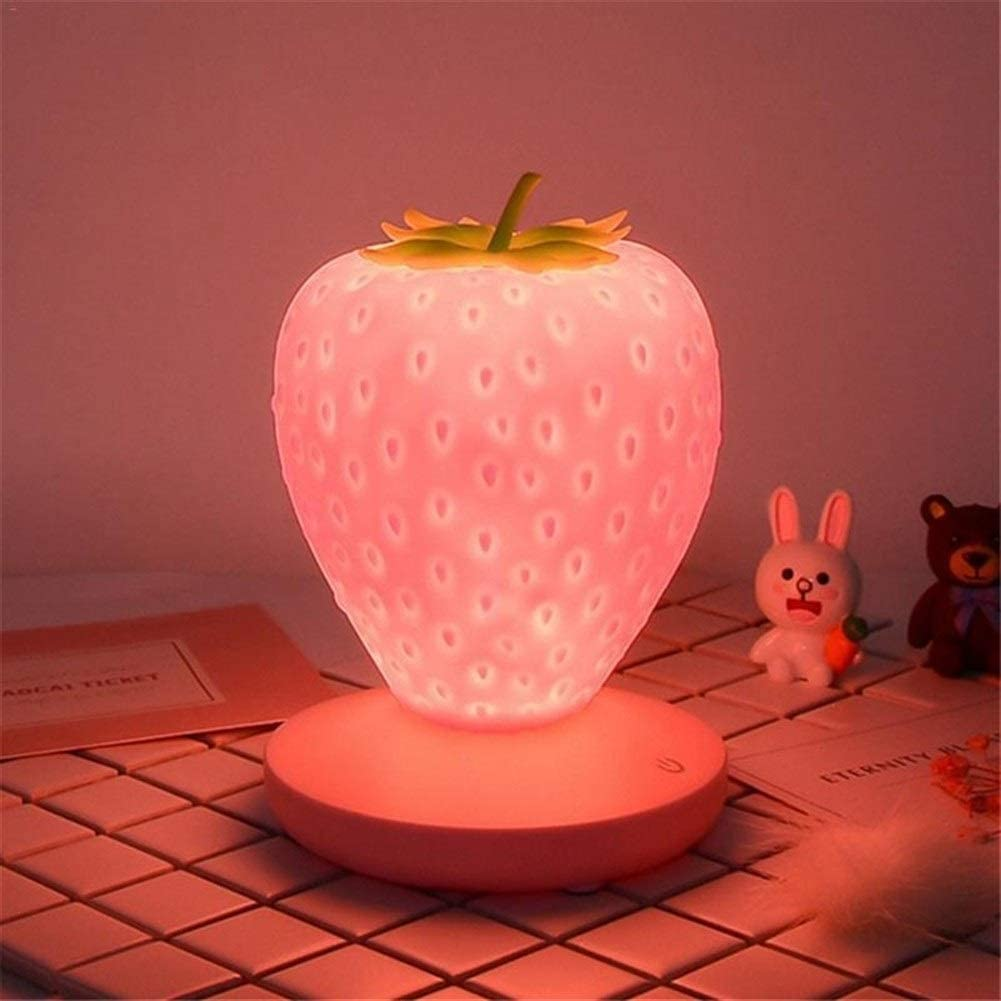 Amazon Com Habadog Touch Dimmable Led Night Light Silicone Strawberry Nightlight Usb Bedside Lamp Color Red Home Kitchen