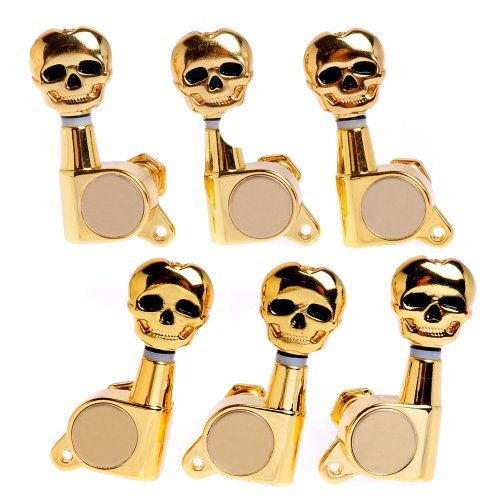 1set 3L3R Skull Guitar Sealed-gear Tuning Pegs Machine Head Gold from Kmise