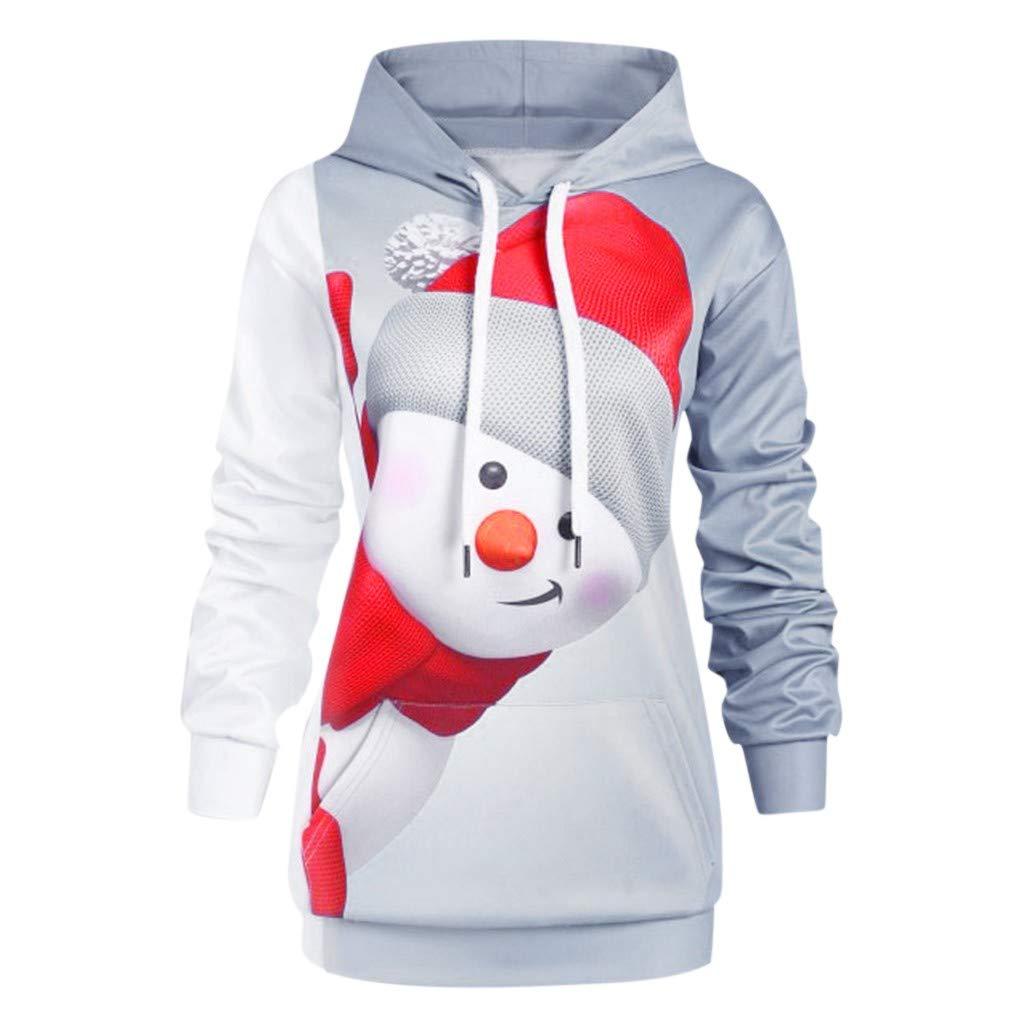 Fammison Women's Christmas Pullover Cartoon Snowman Print Sweatshirt Drawstring Hooded Pullover Sweatshirts Gray by Fammison