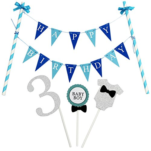 KUNGYO Mini Happy Birthday Cake Bunting Banner Cake Topper Garland - Handmade Pennant Flags 3rd Baby Boy Birthday Party Cake Decoration Supplies]()