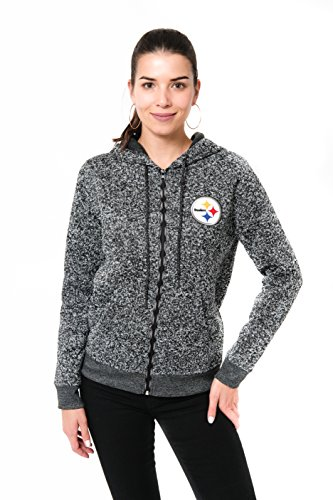 sburgh Steelers Women's Full Zip Hoodie Sweatshirt Marl Knit Jacket, Large, Gray ()