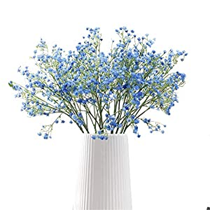 Crt Gucy Artificial Flowers 9Pcs 21″ Baby Breath/Gypsophila Fake Silk Plants Wedding Party Decoration Real Touch Flowers DIY Home Garden, Blue