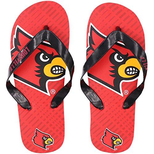Cardinals Flip Flop - NCAA Louisville Cardinalsdouble Logo Flip Flop - Youth 8-16, Louisville Cardinals, Large 3-4