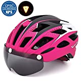 VICTGOAL Bike Helmet for Men Women with Safety Led Back Light Detachable Magnetic Goggles Visor Mountain & Road Bicycle Helmets Adjustable Adult Cycling Helmets (New Rosy)