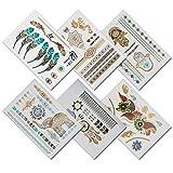 TempiTats Parvati Flash Tattoo Collection - Temporary Boho Metallic Henna Tattoos (6 Sheets)