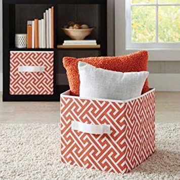 Better Homes and Gardens Collapsible Fabric Storage Cube Set of 8 Coral Greek Key & Amazon.com : Better Homes and Gardens Collapsible Fabric Storage ...