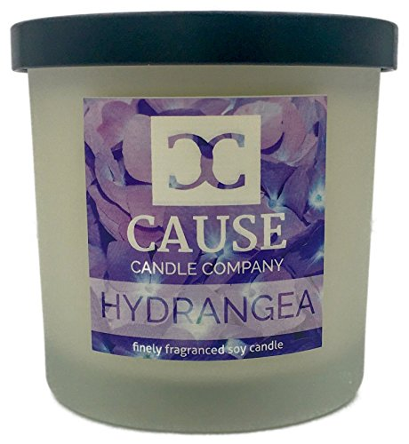 % Soy Hydrangea Scented Candle. Best for Natural Aromatherapy, Stress Relief, Relaxation, Gift, or Home Fragrance. Clean Burn Glass Jar as Home Decor to Relax De-Stress ()