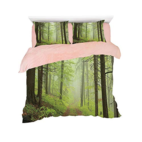 Flannel Duvet Cover Set 4-Piece Suit Warm Bedding Sets Quilt Cover for bed width 5ft Pattern Customized bedding for girls and young children,Outdoor,Trail Trough Foggy Alders Beeches Oaks Coniferous G