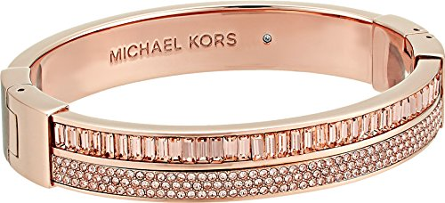 Baguette Gold Tone Bracelet - Michael Kors Fashion Color Crush Rose Gold-Tone and Peach Hinge Bracelet