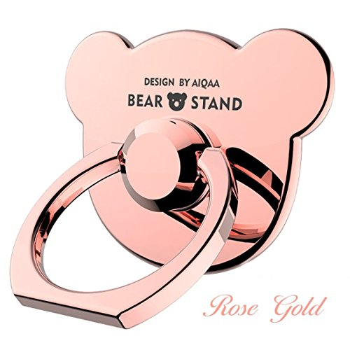 Christmas Gift iStand Teddy Metal CutePink Phone Ring Pop Sockets Mount ,Blush Rose Gold Cellphone Ring Stand Smartphone Accessories Holder for iPhone LG Ladys Girls and Boys Version