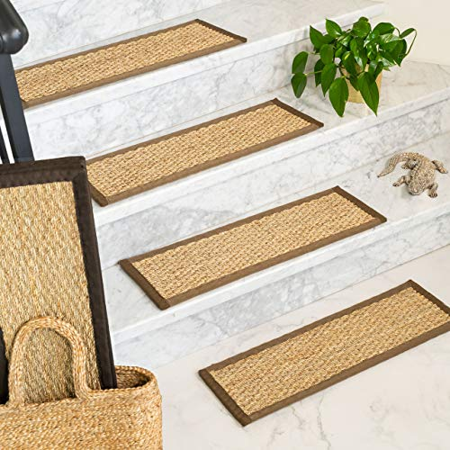 "Natural Area Rugs 100% Natural Fiber Half Panama, Seagrass Sage, Handmade Stair Treads Carpet Set of 13 (9""x29"") Espresso Border"